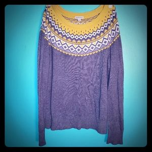 Merona yellow and grey geometric design sweater